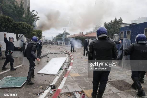 Algerian riot police clashes with protestors demonstrating against Algerian President Abdelaziz Bouteflika Bouteflika who has been the President of...