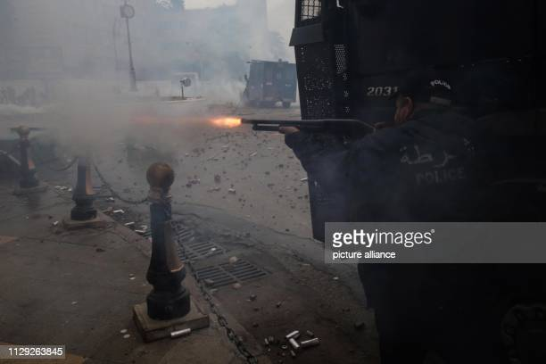 Algerian riot police during clashes with protestors demonstrating against Algerian President Abdelaziz Bouteflika Bouteflika who has been the...