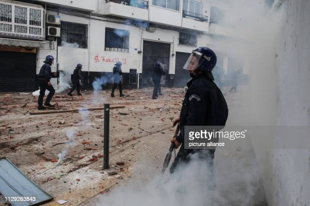 Algerian riot police man during clashes with protestors demonstrating against Algerian President Abdelaziz Bouteflika Bouteflika who has been the...