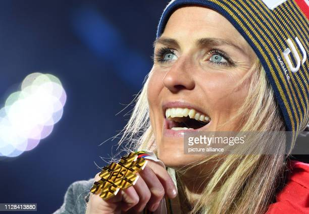Crosscountry World Championship 30 km mass start freestyle women medal ceremony Therese Johaug from Norway shows her gold medal Photo Hendrik...