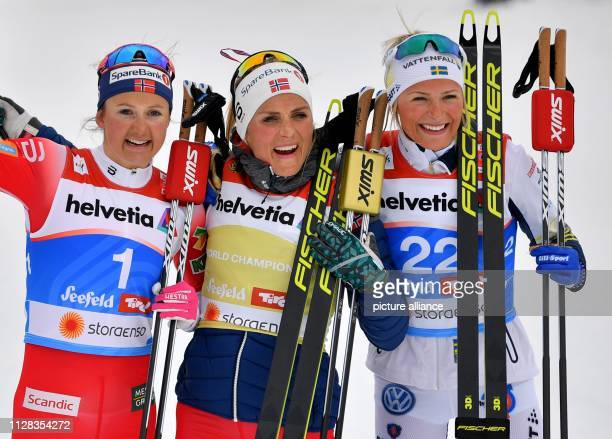 Nordic skiing world championship crosscountry 30 km mass start freestyle ladies Second placed Ingvild Flugstad Östberg from Norway winner Therese...