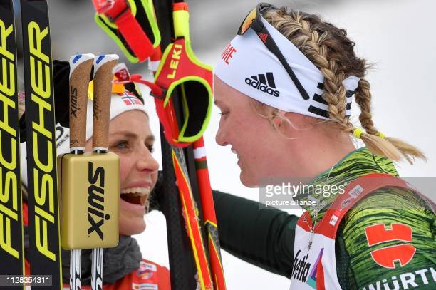 Nordic skiing world championship crosscountry 30 km mass start freestyle ladies WinnerTherese Johaug from Norway and Victoria Carl from Germany...