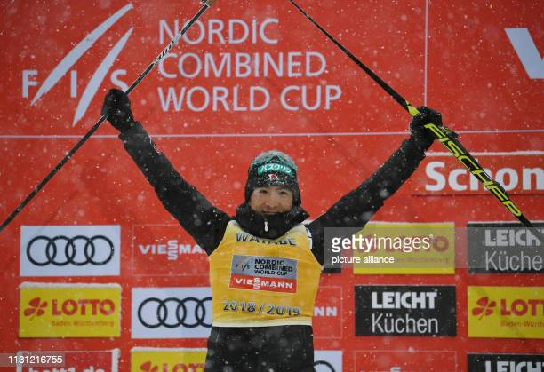 17 March 2019 BadenWuerttemberg Schonach Nordic ski/combination The runnerup in the overall standings Akito Watabe from Japan is on the podium Photo...