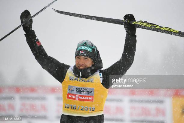 17 March 2019 BadenWuerttemberg Schonach Nordic ski/combination The runnerup in the overall standings Akito Watabe from Japan is cheering on the...