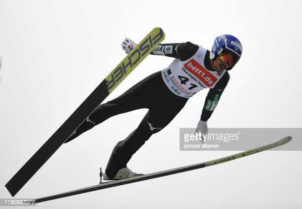 16 March 2019 BadenWuerttemberg Schonach Nordic ski/combination World Cup single normal hill/10 km men jump Yoshito Watabe from Japan jumps from the...