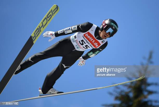 16 March 2019 BadenWuerttemberg Schonach Nordic ski/combination World Cup single normal hill/10 km men jump Akito Watabe from Japan jumps from the...