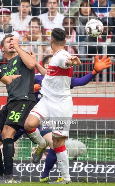 03 March 2019 BadenWuerttemberg Stuttgart Soccer Bundesliga VfB Stuttgart Hannover 96 24th matchday in the MercedesBenz Arena Stuttgart's Ozan Kabak...