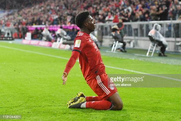 Soccer Bundesliga FC Bayern Munich FSV Mainz 05 26th matchday in the Allianz Arena Alphonso Davies of FC Bayern Munich rejoices over his goal to 60...