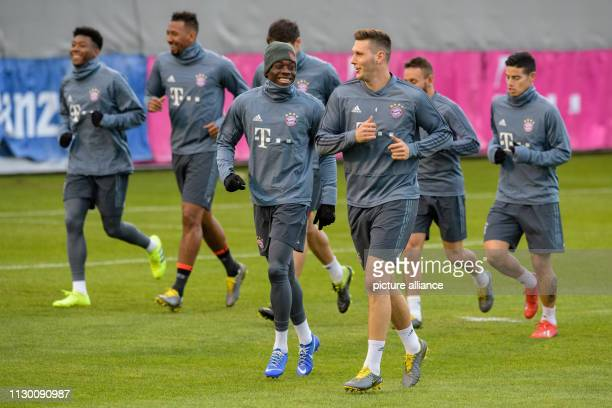 Soccer Champions League FC Bayern Liverpool Training FC Bayern before the second leg of the round of 16 on Säbener Straße David Alaba Jerome Boateng...