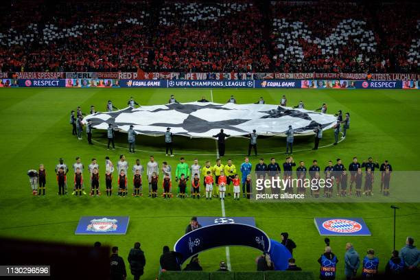 Soccer Champions League knockout round round of sixteen second leg FC Bayern Munich FC Liverpool in the Allianz Arena The teams of Liverpool and FC...