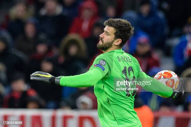 Soccer Champions League knockout round round of sixteen second leg FC Bayern Munich FC Liverpool in the Allianz Arena Liverpool goalkeeper Alisson...