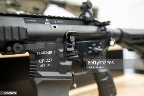 March 2019, Bavaria, Nürnberg: A rifle of the AR-15 class type CR 223 in civilian execution of the German weapons manufacturer Haenel is exhibited at...