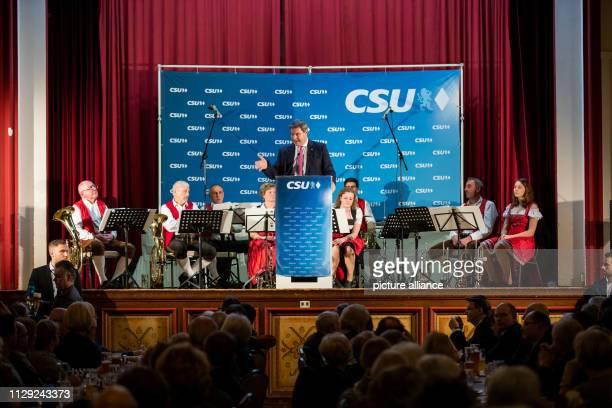 Markus Söder Prime Minister of Bavaria speaks at the 44th political fish dinner of the CSU Nuremberg Photo Daniel Karmann/dpa