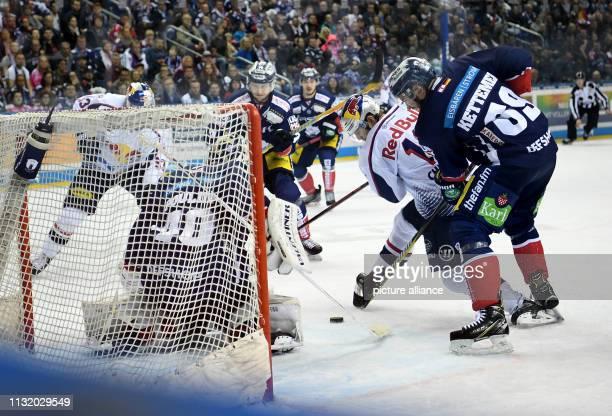 Ice hockey DEL Eisbären Berlin EHC Red Bull Munich championship round quarter finals 4th matchday Munich's Mads Christensen attacks the gate of the...