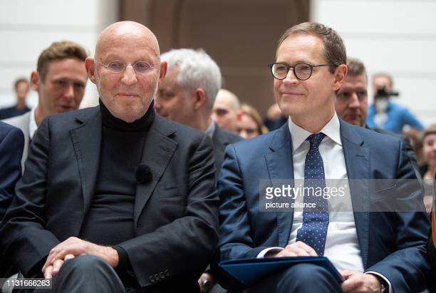 Michael Müller Governing Mayor of Berlin and Arthur Langerman founder of the Langerman Collection are sitting in the Lichthof of the Technical...