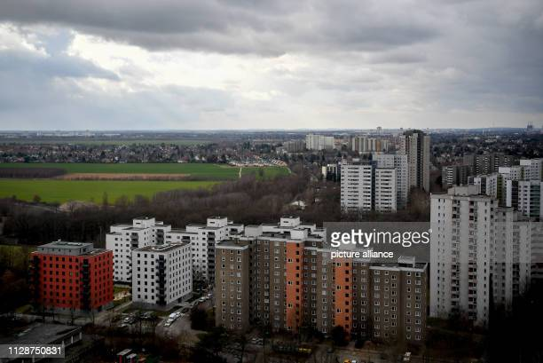Panoramic view over the skyscrapers of Gropiusstadt in the south of Berlin The large housing estate erected between 1962 and 1975 is considered a...