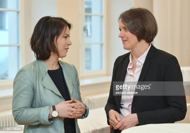 25 March 2019 Brandenburg Frankfurt Annalena Baerbock CoChairwoman of Bündnis 90/Die Grünen and Julia von Blumenthal President of the European...