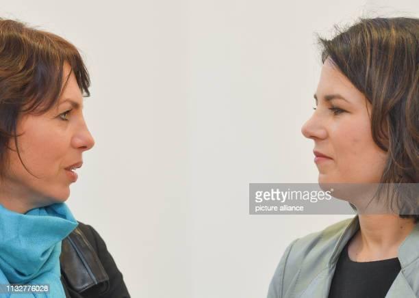 25 March 2019 Brandenburg Frankfurt Susanna Karawanskij Brandenburg's Integration Minister and Annalena Baerbock CoFederal Chairwoman of Bündnis...