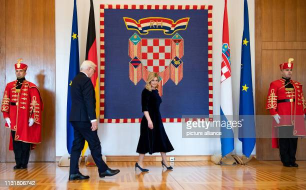 Federal President FrankWalter Steinmeier and Kolinda GrabarKitarovic President of the Republic of Croatia meet at the President's office President...