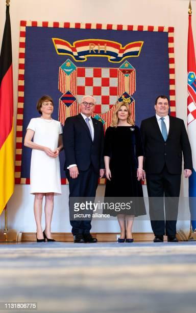 Federal President FrankWalter Steinmeier and his wife Elke Büdenbender meet Kolinda GrabarKitarovic President of the Republic of Croatia and her...