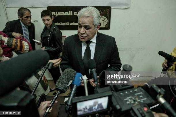 Former presidential candidate Hamdeen Sabahi speaks during a press conference of the Civil Democratic Movement Prominent Egyptian political figures...