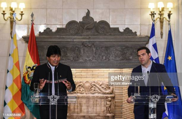 Alexis Tsipras Prime Minister of Greece speaks alongside Evo Morales President of Bolivia during a press conference at a meeting at Maximos Mansion...