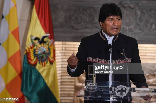 Evo Morales President of Bolivia speaks during a press conference at a meeting at Maximos Mansion as part of Morales' twoday visit to Greece Photo...