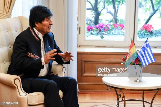 Evo Morales President of Bolivia talks to Greek Prime Minister Tsipras at a meeting in Maximos Mansion as part of Morales' twoday visit to Greece...