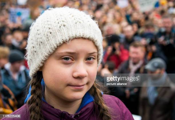 Greta Thunberg climate activist stands before a rally on the Rathausmarkt in front of the Rathaus The young Swedish woman has come to Germany for the...