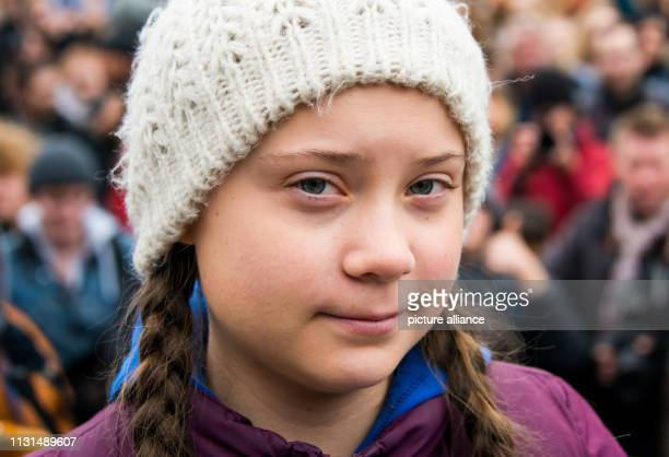 Greta Thunberg climate activist stands before a rally on the Rathausmarkt in front of the Rathaus Thunberg is honoured with a Golden Camera The...