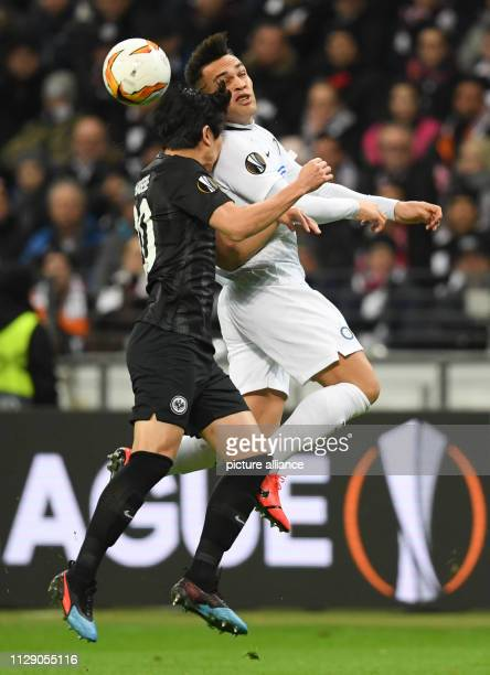 Soccer Europa League Eintracht Frankfurt Inter Milan knockout round round of sixteen first leg in the Commerzbank Arena Frankfurt's Makoto Hasebe and...