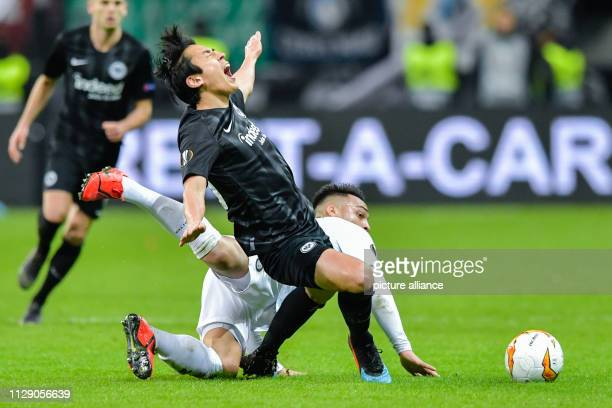 Soccer Europa League Eintracht Frankfurt Inter Milan knockout round round of sixteen first legs in the Commerzbank Arena Frankfurt's Makoto Hasebe is...