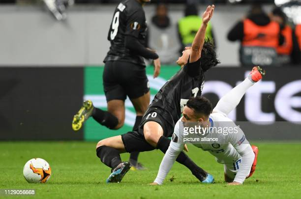 Soccer Europa League Eintracht Frankfurt Inter Milan knockout round round of sixteen first leg in the Commerzbank Arena Frankfurt's Makoto Hasebe is...