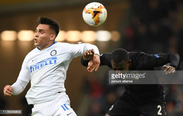 Soccer Europa League Eintracht Frankfurt Inter Milan knockout round round of sixteen first leg in the Commerzbank Arena Frankfurt's Evan Ndicka and...