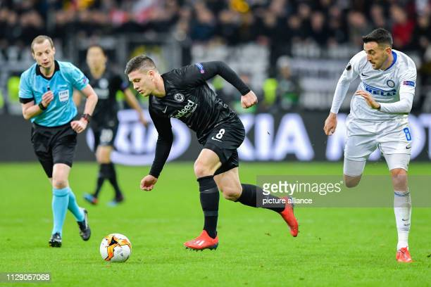 Soccer Europa League Eintracht Frankfurt Inter Milan knockout round round of sixteen first legs in the Commerzbank Arena Frankfurt's Luka Jovic and...