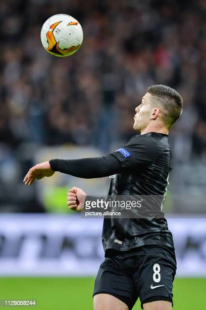 Soccer Europa League Eintracht Frankfurt Inter Milan knockout round round of sixteen first legs in the Commerzbank Arena Frankfurt's Luka Jovic plays...