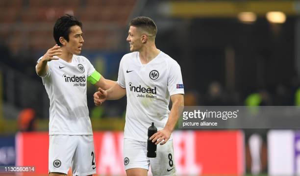 Soccer Europa League knockout round round of sixteen second leg Inter Milan Eintracht Frankfurt at the Guiseppe Meazza Stadium Frankfurt's Makoto...