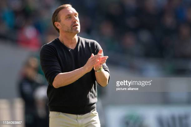 Soccer Bundesliga Hannover 96 FC Schalke 04 27th matchday in the HDIArena Hanover coach Thomas Doll gestures on the sidelines Photo Swen Pförtner/dpa...