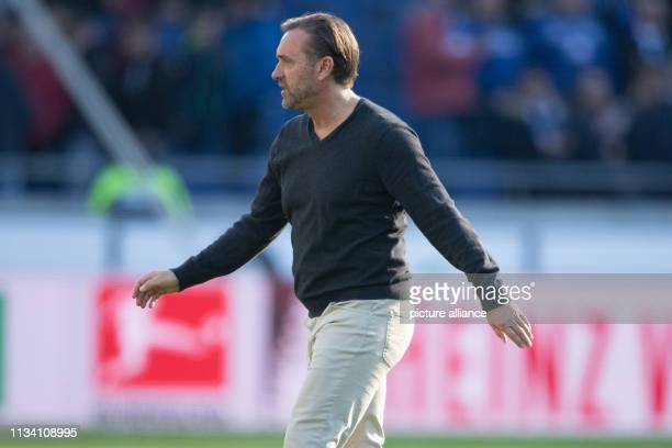 Soccer Bundesliga Hannover 96 FC Schalke 04 27th matchday in the HDIArena Hanover coach Thomas Doll leaves the pitch at the end of the game Photo...