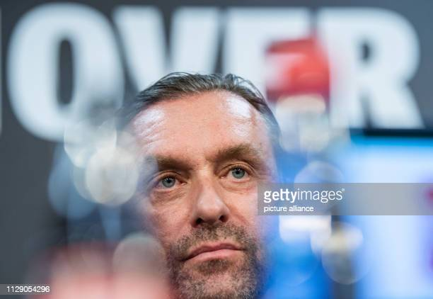 Thomas Doll coach of Hannover 96 speaks at a press conference of the soccer club Hannover 96 before the match against Leverkusen Coach Doll and...