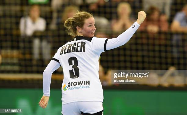 Handball women International match Germany Netherlands in the EWEArena The German Amelie Berger cheers over a goal Photo Carmen Jaspersen/dpa