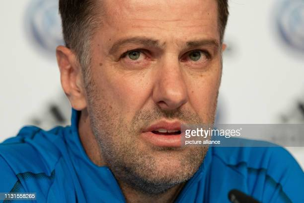 Football national team The Serbian national coach Mladen Krstajic speaks at the press conference before the international match Germany Serbia Photo...