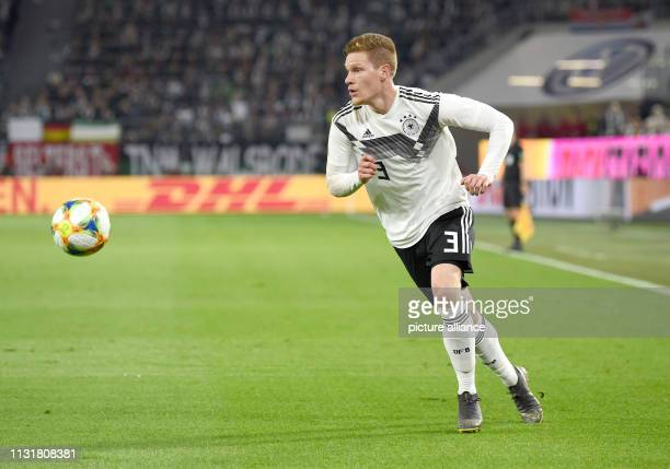 Soccer International match Germany Serbia in the Volkswagen Arena Germany's Marcel Halstenberg plays the ball IMPORTANT NOTE In accordance with the...