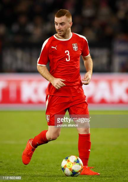 Soccer International match Germany Serbia in the Volkswagen Arena Serbia's Miroslav Bogosavac on the ball IMPORTANT NOTE In accordance with the...