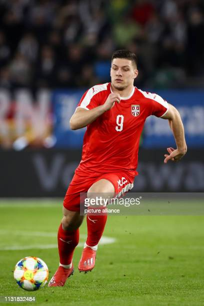 Soccer International match Germany Serbia in the Volkswagen Arena Serbia's Luka Jovic on the ball IMPORTANT NOTE In accordance with the requirements...