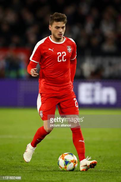 Soccer International match Germany Serbia in the Volkswagen Arena Serbia's Adem Ljajic on the ball IMPORTANT NOTE In accordance with the requirements...