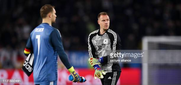 Soccer International match Germany Serbia in the Volkswagen Arena Germany goalkeeper Manuel Neuer and MarcAndre ter Stegen IMPORTANT NOTE In...