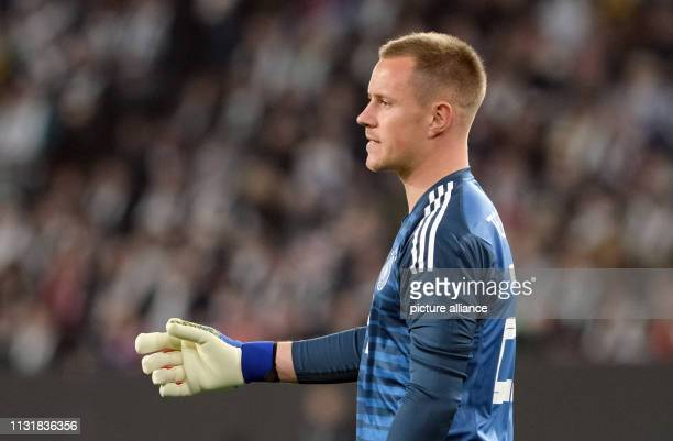 Soccer International match Germany Serbia in the Volkswagen Arena Germany goalkeeper MarcAndre ter Stegen gestures IMPORTANT NOTE In accordance with...