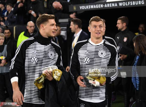 Soccer International match Germany Serbia in the Volkswagen Arena Germany's Niklas Stark and Toni Kroos enter the stadium IMPORTANT NOTE In...