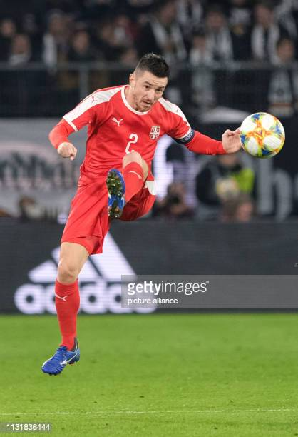 Soccer International match Germany Serbia in the Volkswagen Arena Antonio Rukavina from Serbia plays the ball IMPORTANT NOTE In accordance with the...